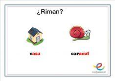Fichas de lenguaje para primaria: ¿Qué rima con? Speech Pathology, Children Rhymes, User Experience, Note Cards, Lyrics