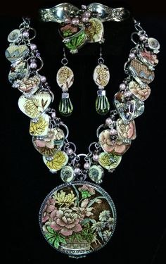 Beautiful spoon bracelet, earrings and collection necklace, all made from vintage china set in sterling silver.www.westernvr.com
