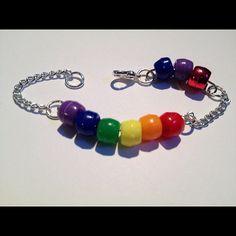 Bisexual and Rainbow Pride Bracelet.