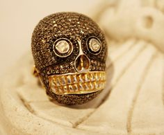 Skelton Skull Ring 18k Yellow Gold Gilt by ParisCoutureAntiques 21748e150ff67