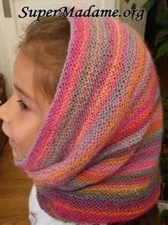 """Knitting İdeas - Tuto tricot : le snood-cagoule """"Pays des licornes"""" - My Popular Photo Crochet Poncho, Crochet Baby Hats, Easy Crochet, Baby Knitting, Knitted Hats, Knitting Designs, Knitting Patterns, Crochet Patterns, Baby Dress Tutorials"""