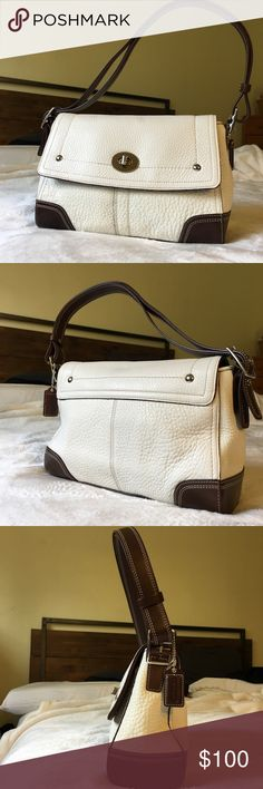 Coach Hamilton white Pebbled leather bag Only used once Coach Hamilton white Pebbled leather bag with turn lock.  Can be worn as a shoulder bag or crossbody bag.  A small scratch can be found at the bottom but no scratches can be seen on turn lock.  Pristine condition and comes with a dust bag. Smoke free home. Coach Bags