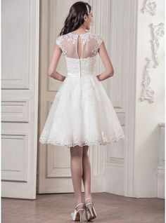 1693ee3b7f0 A-Line Princess Scoop Neck Knee-Length Tulle Wedding Dress With Appliques  Lace - JJsHouse