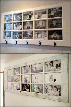 A great place to display photos, get some usable shelf, hang coats AND it's made from a repurposed door. Learn more about this idea on our site now!