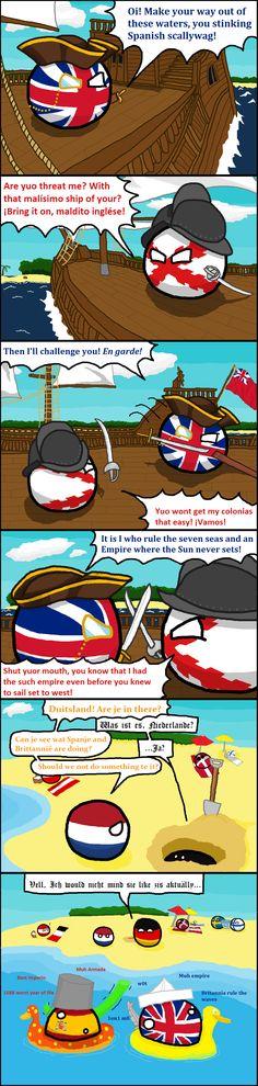 Rulers of the Beach ( UK, Spain, Netherlands, Germany ) by Sock Finn #polandball #countryball #flagball