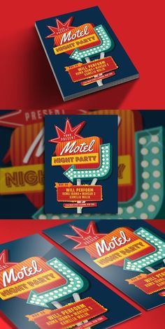 Motel Sign Party Flyer. Flyer Templates. $6.00