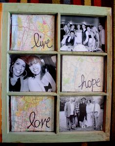 Window Pane Frame   *old window pane  *old map  *Black & White Photos  * Scissors, photo corners, & a sharpie