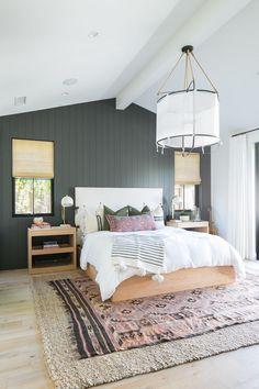Modern Boho Bedroom - Home Design Inspiration Master Bedroom Design, Home Decor Bedroom, Bedroom Ideas, Bedroom Curtains, Bedroom Designs, Bedroom Furniture, Bedroom Rugs, Master Suite, Beige Curtains