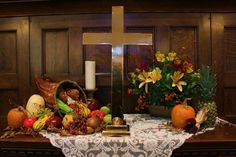 It is the tradition of RCC to have a beautiful cornucopia on the altar in lieu of flowers the Sunday before Thanksgiving. Fall Church Decorations, Harvest Decorations, Thanksgiving Decorations, Church Ideas, Church Flower Arrangements, Church Flowers, Alter Flowers, Floral Arrangements, Alter Decor