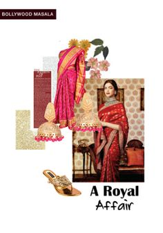'A royal affair' by me on Limeroad featuring Red Sarees, Bead Gold Earrings with Gold Sandals