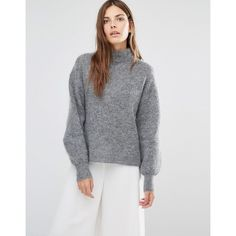 Warehouse Bell Sleeve Mohair Sweater (350 PLN) ❤ liked on Polyvore featuring tops, sweaters, grey, flared sleeve top, oversized sweaters, over sized sweaters, gray oversized sweater and grey sweater