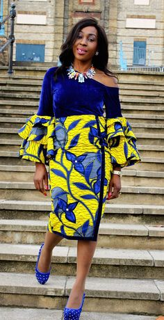 Vibrant Mixed coloured Ankara print dress custom made with velvet and designed to fit perfectly to your silhouette. It is made with cotton Ankara fabric and soft velvet. Designed to give elegance and style for that special occasion. It measures 42 inches Ankara Styles For Women, Ankara Gown Styles, Ankara Gowns, African Dresses For Women, African Print Dresses, Ankara Dress, African Attire, African Wear, African Women