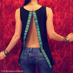 Bohemian top open back shirt slit sequins black tank Boho Hippie layering Upcycled clothing OOAK by TheBohemianDream