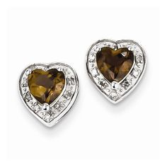 Solid 925 Sterling Silver Diamond Brown Simulated Smokey Quartz Earrings (.06 cttw.) (8mm x 7mm) } I found this awesome!