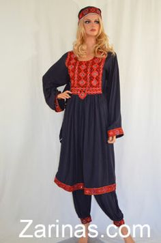 """Susan Navy Blue Kuchi Dress.  Beautifully embroidered traditional Afghan Kuchi tribal dress in navy blue. The material is soft, breathable, and light weight, perfect for the summer! Comes with matching pants, head scarf, and adjustable belt at the waist. The measurement of the bust is 21"""" from seam to seam, and the length is 41"""" long from the back. Size: Small to Large (Depending on bust size) http://www.zarinas.com/dresses2.shtml"""