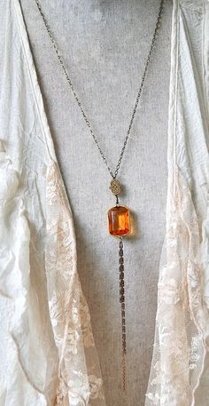 Long geometrical tassel necklace/ fall by tiedupmemories on Etsy