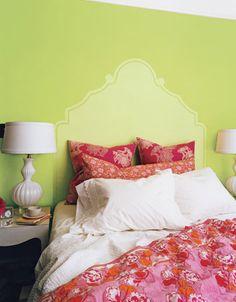 "chartreuse and pink, coral, orange and red.  wall :  d-E*    HTML      R      G      B  Color code/name  Sample         #CFD980 207.00 217.00 128.00 Match #1  6.55 #BFCE6C 191.34 205.75 108.03 ""2028-40 PEAR GREEN"" Match #2  8.19 #E4EA9A 227.57 234.05 154.13 ""2026-50 FRESH CUT GRASS"" Match #3  9.57 #EEEC99 237.64 235.55 153.16 ""2025-50 LEMON FREEZE"" Match #4 10.36 #D4D569 211.54 213.48 104.68 ""2027-40 GRAPE GREEN""  headboard"