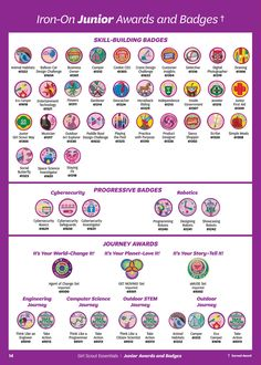 Girl Scouts of the USA - GS Essentials Brochure - Page 12-13 Girl Scout Uniform, Girl Scout Patches, Girl Scout Swap, Girl Scout Leader, Girl Scout Troop, Brownie Girl Scouts, Girl Scout Cookies, Girl Scout Levels, Junior Girl Scout Badges