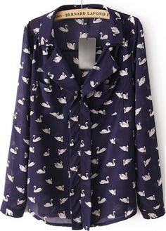 Long Sleeve Swan Print Chiffon Shirt