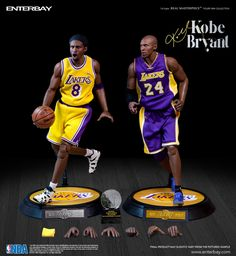 """Kobe Bryant (Los Angeles Lakers) 1/6th Scale 12"""" Action Figure Set (2) Enterbay"""