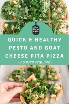 This Quick and Healthy Pesto and Goat Cheese Pita Pizza recipe requires no chopping or prepping ingredients! By taking advantage of some store-bought items, you can have a healthy and delicious meal on the table in 15 minutes! #healthyrecipe #recipe #easydinner #quickmealideas Healthy Weeknight Dinners, Quick Meals, Healthy Dinner Recipes, Vegetarian Recipes, Meal Ideas, Dinner Ideas, Healthy Pesto, Pita Pizzas, Whole Wheat Pita