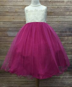 Another great find on #zulily! Fuchsia Lace Glitter Dress - Toddler & Girls #zulilyfinds