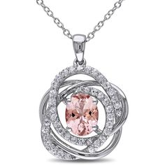 Miadora Sterling Silver White Sapphire Morganite Necklace ($201) ❤ liked on Polyvore featuring jewelry, necklaces, pink, long necklace, long chain necklace, long pendant necklace, pink pendant necklace and sterling silver charms