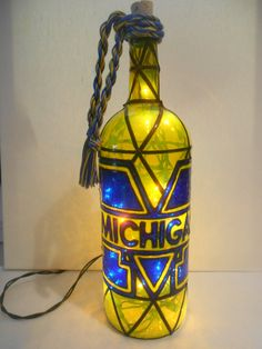 Michigan inspired Hand paintedWine Bottle Stained Glass Look by HillysBoutique on Etsy