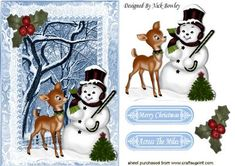 Snowman with gorgeous little deer in the snow on Craftsuprint designed by Nick Bowley - Snowman with gorgeous little deer in the snow, makes a cute christmas card - Now available for download!
