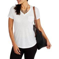 Faded Glory Women's Linen Blend Relaxed fit Short Sleeve V-Neck Pocket T-Shirt, Size: XL, White