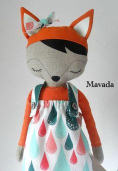 Little Girl Fox Doll; how sweet! Softies, Baby Toys, Kids Toys, Fabric Toys, Sewing Dolls, Soft Dolls, Diy Doll, Cute Dolls, Handmade Toys