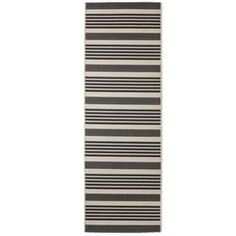 Safavieh Courtyard Stripe Black/ Bone Indoor/ Outdoor Rug | Overstock.com Shopping - The Best Deals on 3x5 - 4x6 Rugs