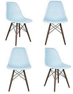 158bf58581f1 Ariel DSW Molded Light Blue Plastic Shell Chair with Dark Oak Eiffel Legs  Set of 4