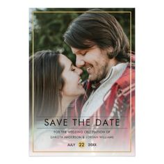 #stylish - #Save The Date | Stylish Typography & Gold Photo Magnetic Card