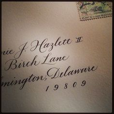 Envelope addressing | Copperplate calligraphy by Linda Yoshida
