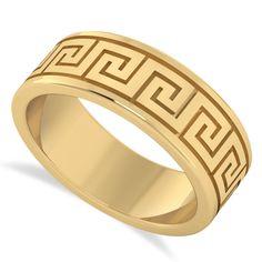 Greek Jewelry, Key Jewelry, Jade Jewelry, Women Jewelry, Mens Gold Rings, Rings For Men, Diamond Wedding Bands, Wedding Rings, Versace Gold