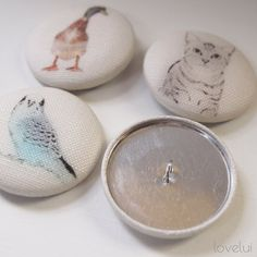 Sewing Buttons Linen Covered In Fabric Animal Prints by lovelui