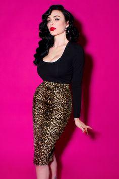 Vixen by Micheline Pitt Leopard Pencil Skirt 120 79 20382 1