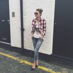 Plaid Shirt And Graphic Tee Outfit Idea