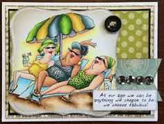 Art Impressions Ai Hampton Art clear stamp sets available at Michael's. Beach Babes set. Handmade card. Girlfriends