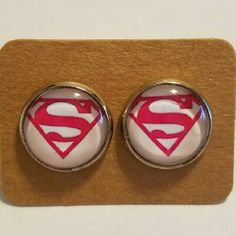 #1 Supergirl Earrings Stainless steel  Hypoallergenic plastic ear backs Jewelry Earrings