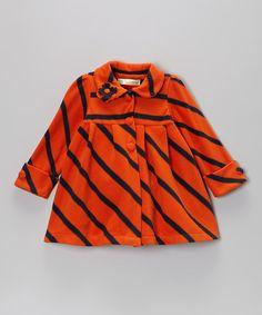 Maria Elena Orange Stripe Coat - Toddler & Girls $15.99