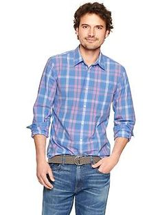 Lived-in wash oversized plaid shirt