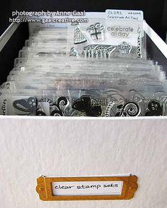 My Clear Stamp Storage © Anne M. All rights reserved. Scrapbook Room Organization, Craft Organisation, Scrapbook Rooms, Scrapbook Storage, Craft Room Storage, Craft Rooms, Creative Storage, Storage Ideas, Stamp Storage