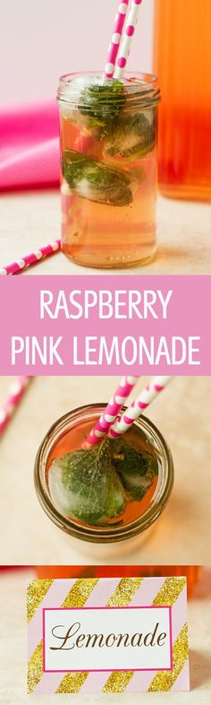 Raspberry Pink Lemonade - Raspberry pink lemonade recipe sweetened naturally with honey. Only 3 ingredients to make this refreshing drink. Perfect for pink and gold parties by http://ilonaspassion.com I /ilonaspassion/