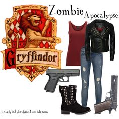 if you don't know what to were in zombie apocalypse:D Harry Potter Dress, Harry Potter Style, Harry Potter Outfits, Harry Potter Houses, Hogwarts Houses, Zombie Apocalypse Outfit, Zombie Apocolypse, Apocalypse Survival, Desenhos Harry Potter