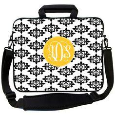 Black Damask Laptop Bag
