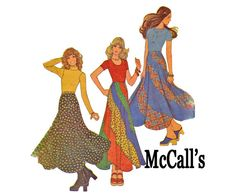 Swirler Skirt 1970s Vintage Sewing Pattern McCall's 3926 Size Small Waist 23 24 25 Prairie style Boho Chic Fashion on Etsy, $24.00