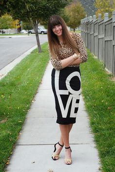 Leopard and LOVE. Finding fall dressier outfits. Fall outfit from the red closet diary blog.