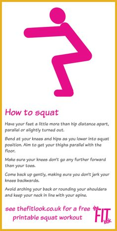 Squats are a great exercise for an all-round leg workout. There are loads of squat variations you can do to emphasise different muscles but you need to start by learning the basic squat. See The Fit Look site for a 6 variation squat workout Yoga Body Transformation, Month Workout Challenge, Kettlebell Challenge, Squat Challenge, Squat Workout, Leg Workouts, Workout Board, Morning Workouts, Leg Exercises